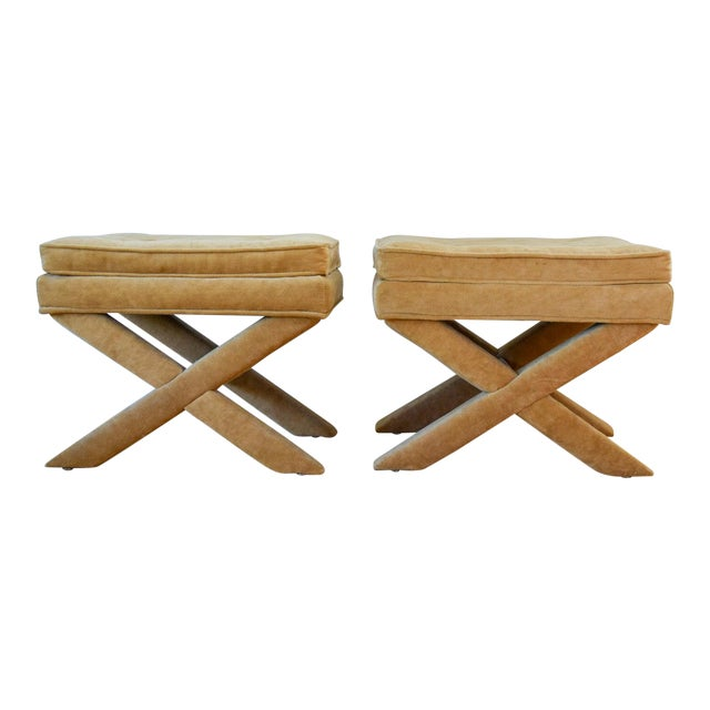 """Vintage Mid Century Tan Mohair """"X"""" Benches- A Pair For Sale"""