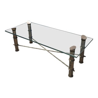 Mid-Century Brass Faux & Bamboo Glass Top Coffee Table