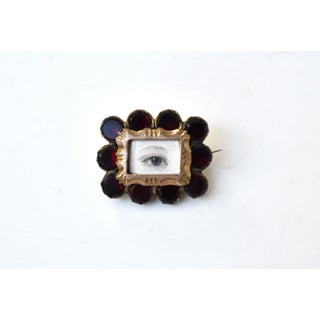 Antique Georgian Garnet Brooch With Contemporary Lover's Eye Painting by S. Carson Preview