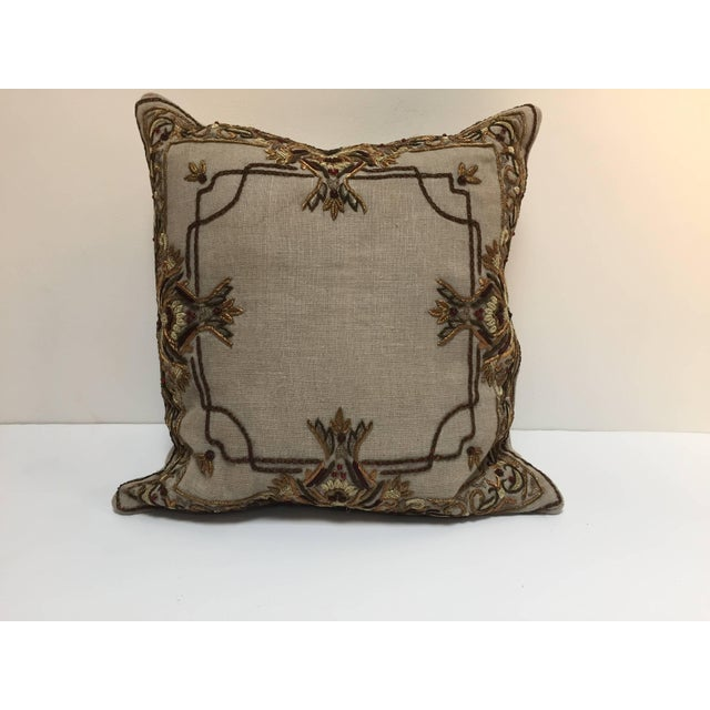 Accent Pillow Embroidered With Moorish Metallic Threads Design For Sale - Image 10 of 10
