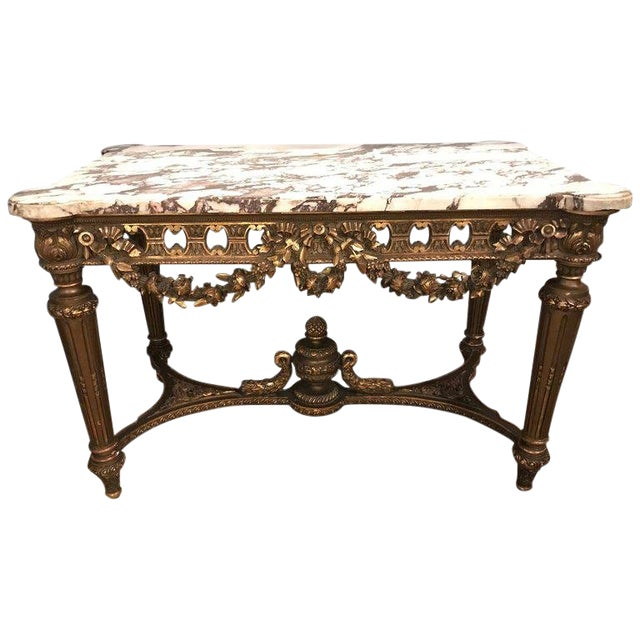 French Louis XVI Style 19th Century Giltwood Marble-Top Centre Table For Sale