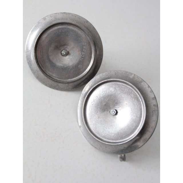 Silver Vintage Carson Pewter Style Candlestick Holders - a Pair For Sale - Image 8 of 9