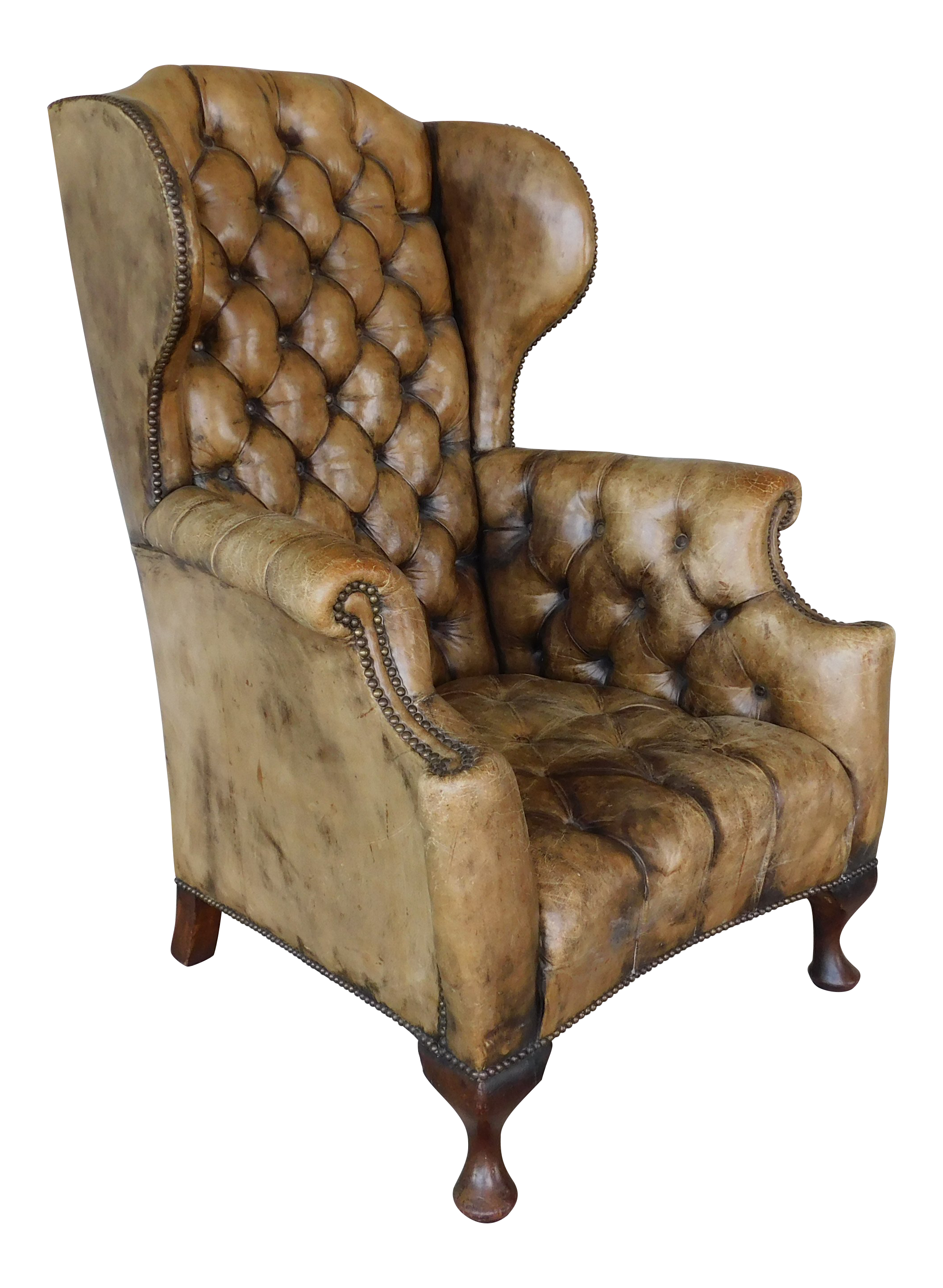 a732692cebe39 Vintage   Used Leather Wingback Chairs