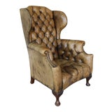 Image of Antique English Tufted Leather Georgian Style Wingback Chair For Sale