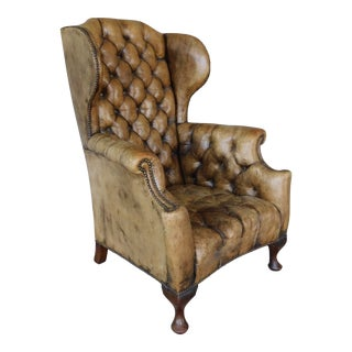Antique English Tufted Leather Georgian Style Wingback Chair For Sale