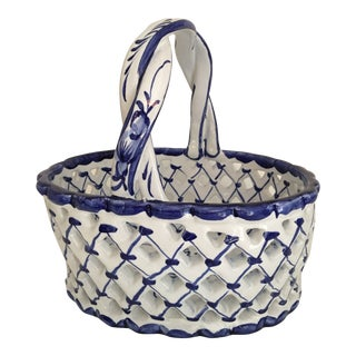 Hand Painted Blue and White Ceramic Basket Made in Portugal