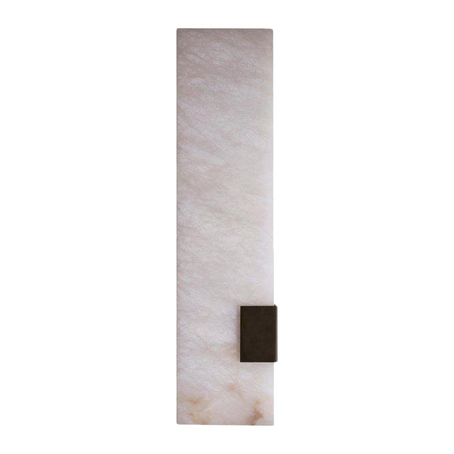 Modern Contemporary 003-1c Sconce in Blackened Brass and Alabaster by Orphan Work For Sale