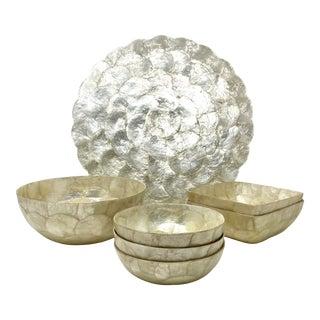 Gumps Vintage Capiz Shell 8 Pc. Charcuterie Board & Serving Bowls - 7 Pc. Set For Sale