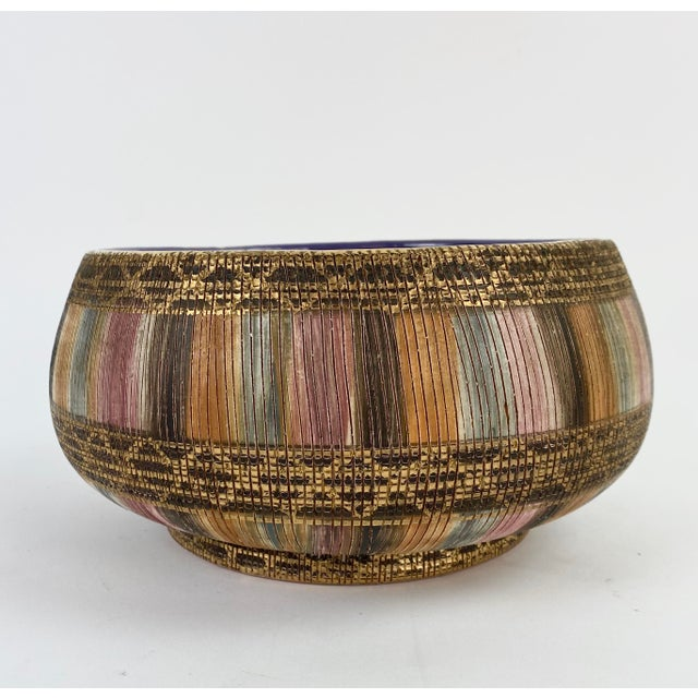 Bitossi Multi Color Pastel Seta Bowl With Gold Accents and rich amethyst interior. Signed and numbered.