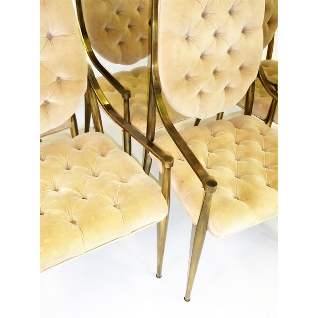 Metal 1960s Vintage Mastercraft Brass Tufted Velvet Dining Chairs - Set of 6 For Sale - Image 7 of 13