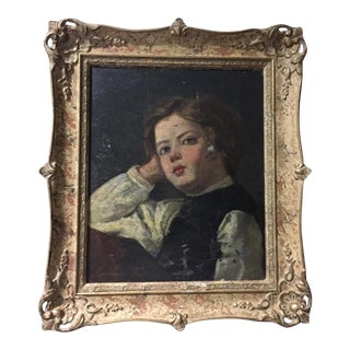 19th C. Swedish Portrait of Girl Painting by Emma Toll (1847-1917) For Sale