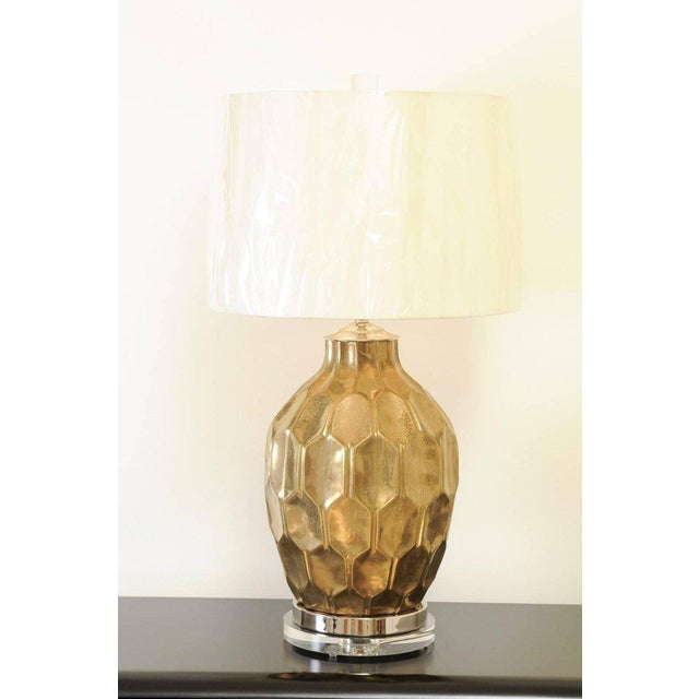 A stunning pair of large-scale vintage ceramic lamps, circa 1980. Beautiful faceted form with a finish that portrays the...