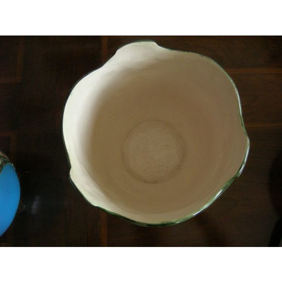 Traditional Blue Majolica Vases - Pair For Sale - Image 3 of 5