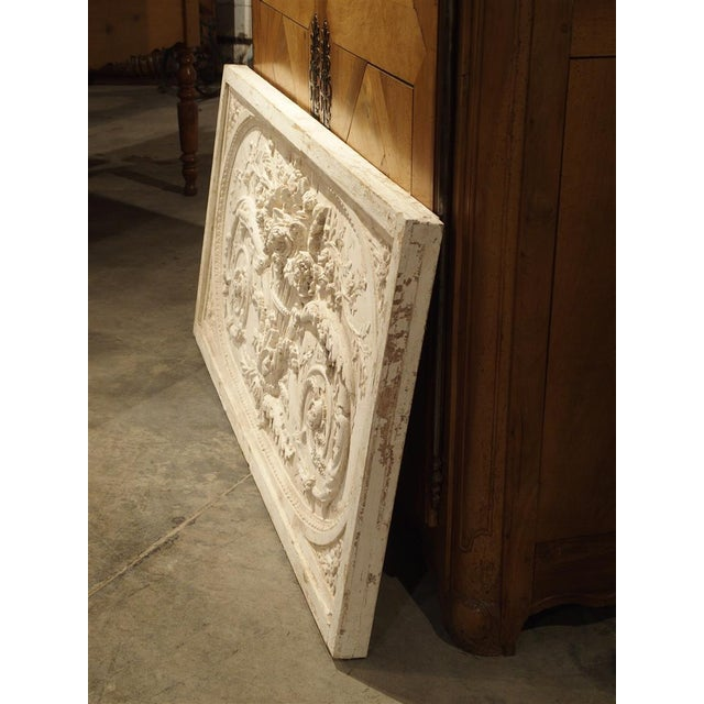 Traditional Architectural Plaster and Wood Overdoor Panel From Provence, France For Sale - Image 3 of 9