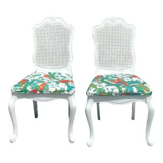Refurbished Vintage White Bernhardt Vintage Parrot Seat Cane Side Chair – a Pair For Sale