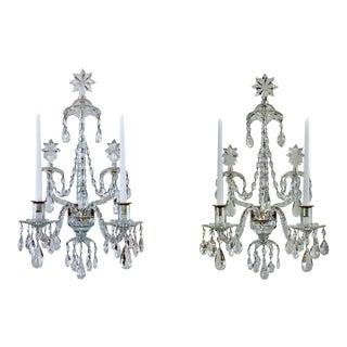 "Georgian ""Derby Blue"" Crystal Sconces - a Pair For Sale"