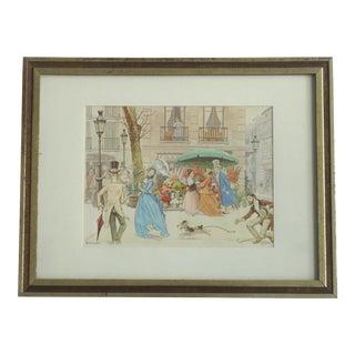 1972 Jandro European Street Scene Print For Sale