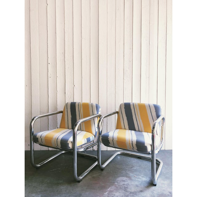Vintage Kinetics Furniture Chrome Cantilever Armchairs For Sale In Portland, OR - Image 6 of 6