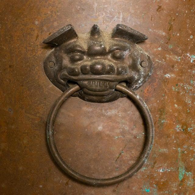 Brass Asian Hollywood Regency Vintage Brass Jardiniere Planter Foo Dog Handles For Sale - Image 8 of 8