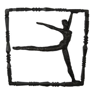 Ballet Dancer Iron Wall Sculpture For Sale