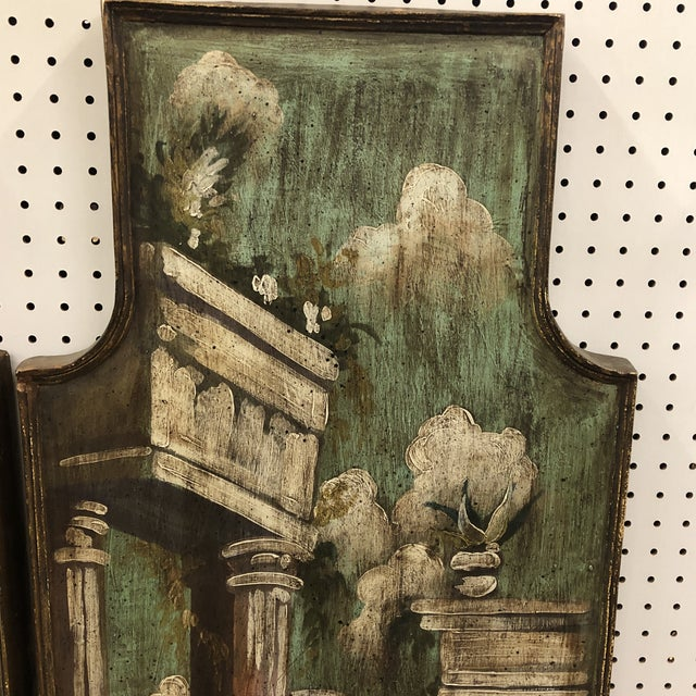 Green Vintage Mid Century Hand Painted Classical Ruins Panels- A Pair For Sale - Image 8 of 10