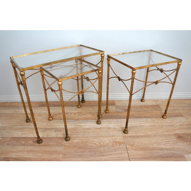 Gold Metallic Nesting Side Tables - Set of 3 - Image 2 of 6
