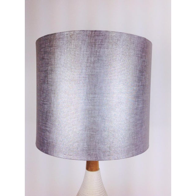 Silver metallic drum lamp shade chairish silver metallic drum lamp shade image 2 of 3 aloadofball Image collections
