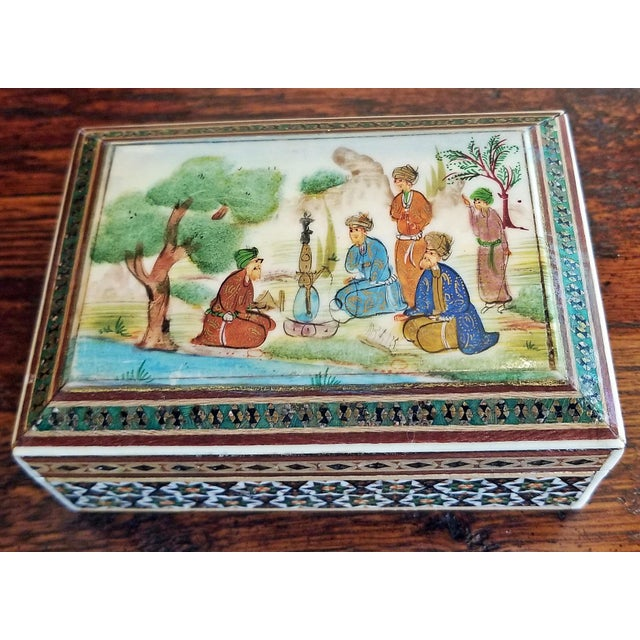 Persian Handpainted Khatam Mosaic Trinket Box For Sale - Image 9 of 9