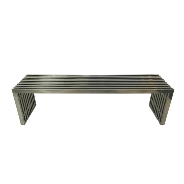 Silver 1970s Vintage Chrome Slat Bench / Coffee Table For Sale - Image 8 of 8