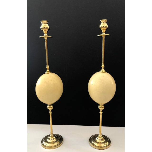 Italian Ostrich Egg & Polished Brass Candle Holders - a Pair For Sale - Image 9 of 9