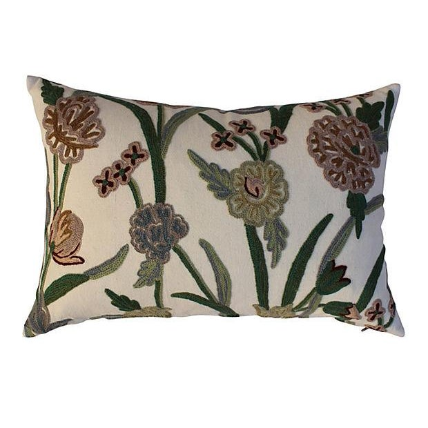 English Crewelwork Floral Pillows - Pair For Sale - Image 5 of 6