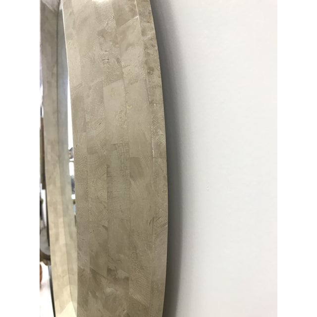 1980 tessellated stone mirror in excellent condition designed by Robert Marcius for Casa Bique. Beautiful light beige color.