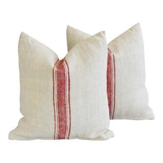 French Homespun Grain Sack Textile Feather/Down Pillows - Pair For Sale
