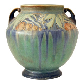 1930s Roseville Green Baneda Vase For Sale