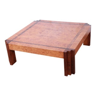 Leon Rosen for Pace Collection Burl Wood and Walnut Art Deco Cocktail Table For Sale