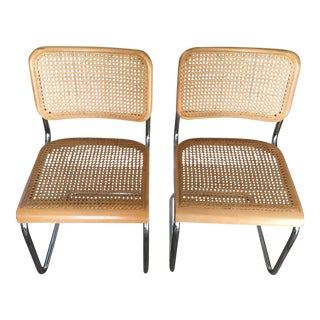 1920s Vintage Cesca/Breuer Poland Chrome Cane Cantilever Chair Set - Pair For Sale