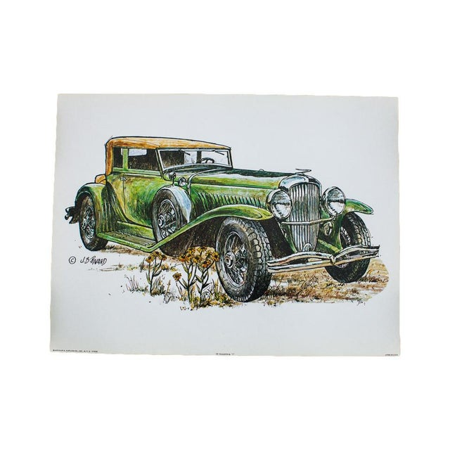 Duesenberg Car Vintage Lithograph For Sale