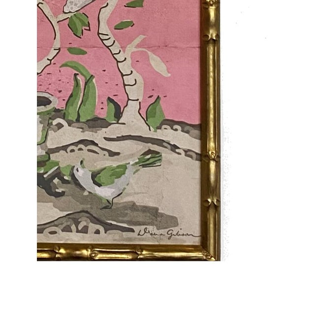 Chinoiserie panel is framed in faux bamboo. There is no glass. This is a reproduction print of original art. This item is...