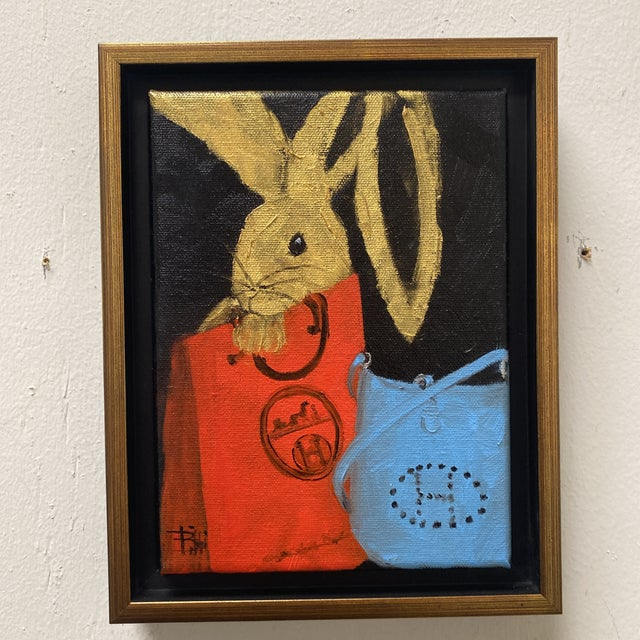 "Hollywood Regency ""Bunny With Blue Hermès"" Contemporary Acrylic Painting, Framed For Sale - Image 3 of 11"