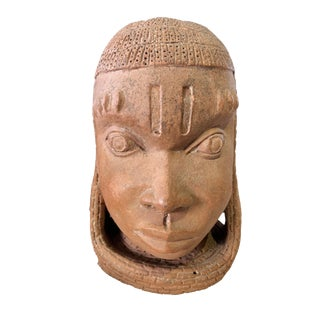 "Rare & Lg Ife Clay / Terracotta Oba Head Edo People Nigeria African 12.5"" H For Sale"