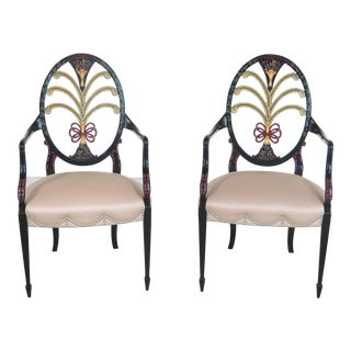 Karges Hepplewhite Paint Decorated Arm Chairs - A Pair