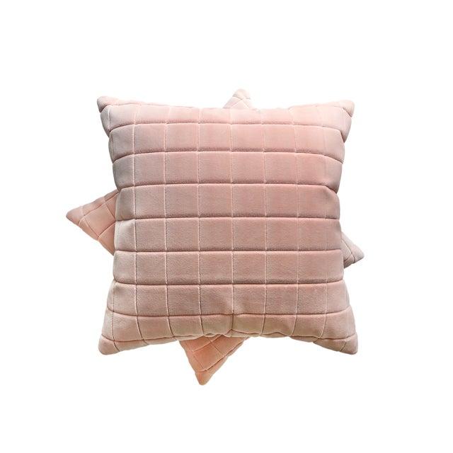 Mid-Century Modern Sōhe Studio Boudoir Bloom and Grid Velvet Pillows - a Pair For Sale - Image 3 of 6