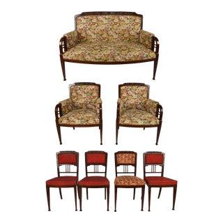 Vintage Art Nouveau Salon Set- 7 Pieces For Sale