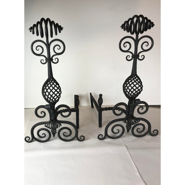 Mid Century Art and Crafts Wrought Iron Hand Frogged Iron Andirons for Fire Place - a Pair For Sale - Image 12 of 13