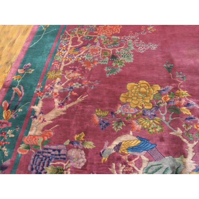 """Antique Chinese Art Deco Rug 9'0"""" X 11'8"""" For Sale In New York - Image 6 of 7"""