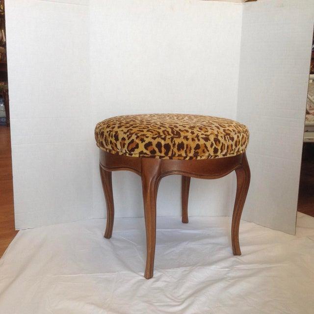 Vintage Italian Leopard Upholstered Vanity Stool For Sale - Image 13 of 13