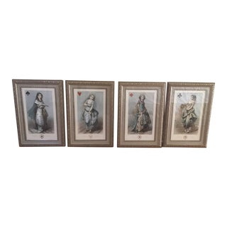 Framed Playing Cards Prints - Set of 4 For Sale