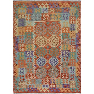 "Hand Knotted Traditional Design Uzbek Wool Kilim. 4'11"" X 6'5"" For Sale"