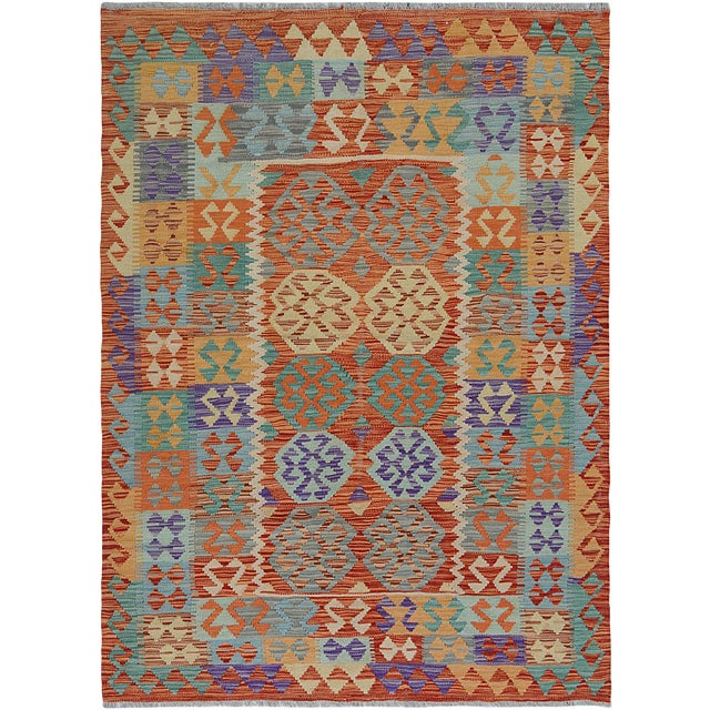 """Hand Knotted Traditional Design Uzbek Wool Kilim. 4'11"""" X 6'5"""" For Sale"""