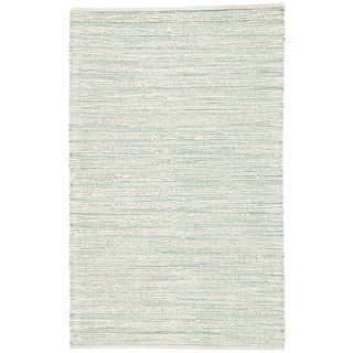 Jaipur Living Canterbury Striped White & Turquoise Runner Rug - 2′6″ × 9′ For Sale